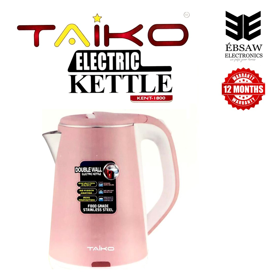 TAIKO Electric Kettle Double Wall 1.8L - KENT-1800: Buy Sell Online @ Best  Prices in SriLanka   Daraz.lk