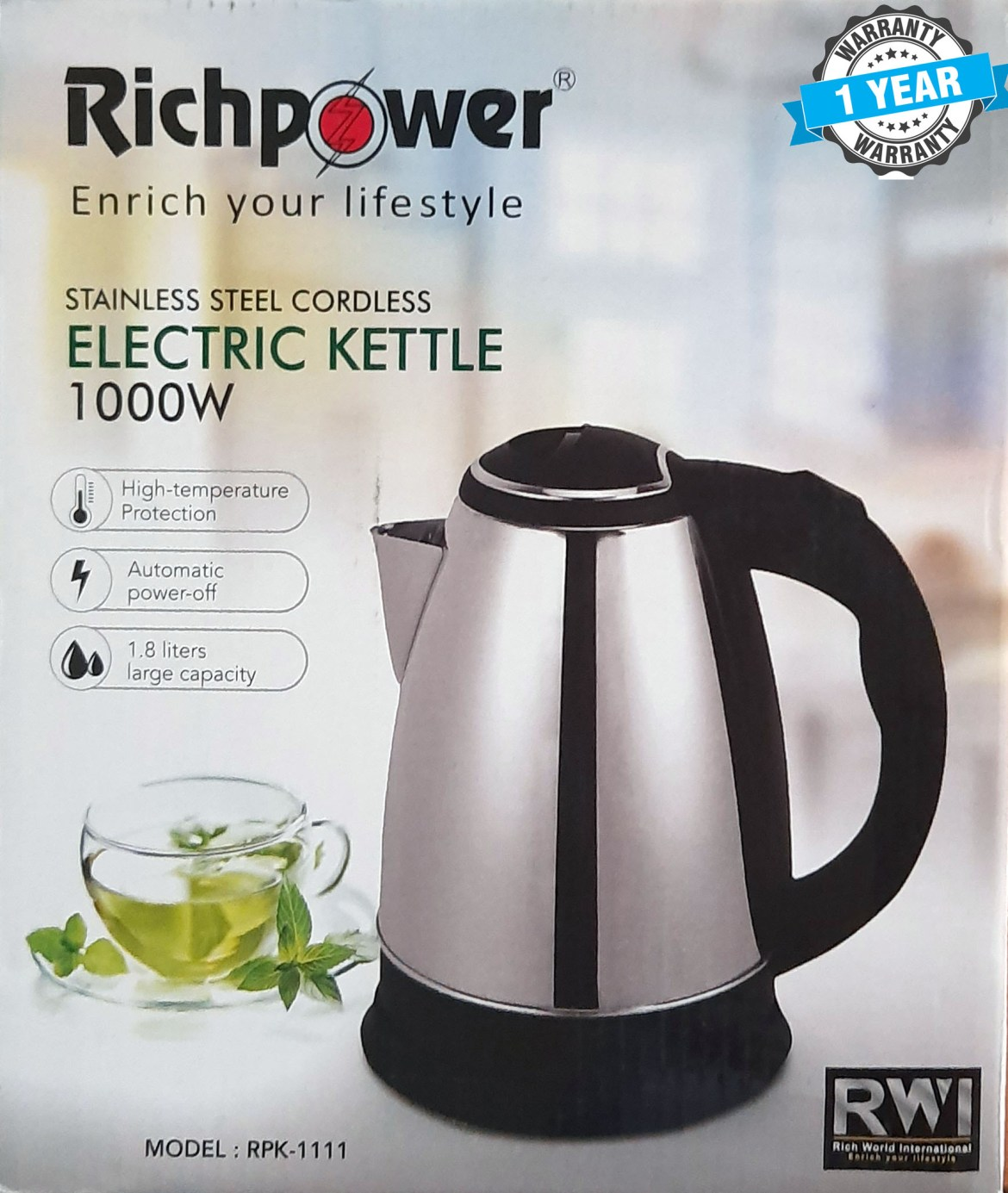 RichPower Stainless Steel Cordless Electric Kettle 1.8L 1000W RPK-1111: Buy  Sell Online @ Best Prices in SriLanka | Daraz.lk