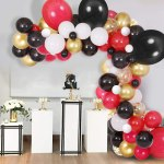 100 Pcs Red Black Gold White Balloon Garland Arch Accessories For Red And Black Theme Party Decoration Weddings Baby Shower Birthday Graduation Anniversary Bachelorette Party Background Decorations Party Supplies Or Arch Decor