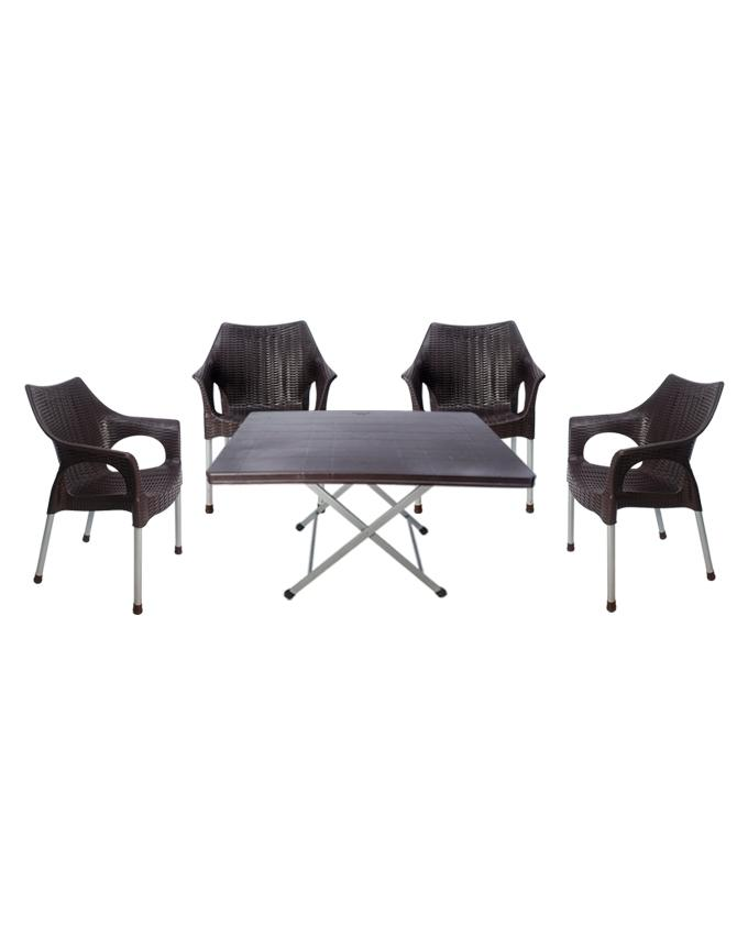plastic chairs with stainless steel legs vanity target outdoor furniture online in pakistan daraz pk rattan chair set of 4 table brown