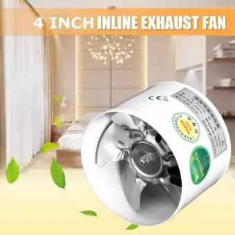 25w 220v 4 inch inline duct fan booster exhaust blower air cooling vent metal blade