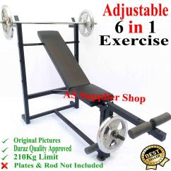 Gym Bench Press Chair Teak Lounge Home Equipments Online In Pakistan Daraz Pk Best Quality Multi 6 Exercise Adjustable Chest Incline Decline Straight Flat Leg Biceps
