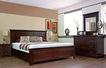 Antique Design Oak Wood Dark Brown Polish Finish King Size Bed With Side Tables Buy Online At Best Prices In Pakistan Daraz Pk