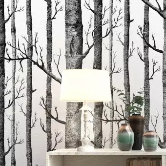 Black White Birch Tree Wallpaper For Bedroom Modern Design Living Room Wall Paper Roll Rustic Forest Woods Wallpapers Buy Online At Best Prices In Pakistan Daraz Pk