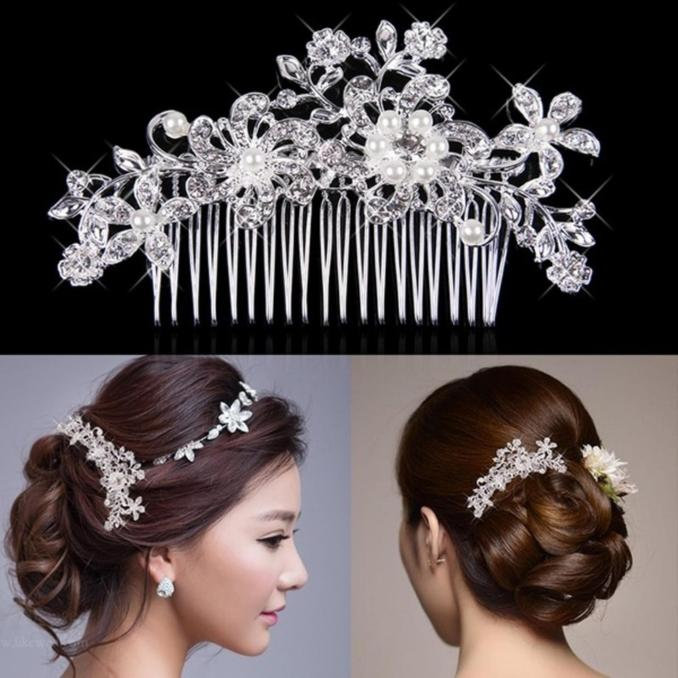 1pc silver wedding bridal hair comb pearl hair pin clip