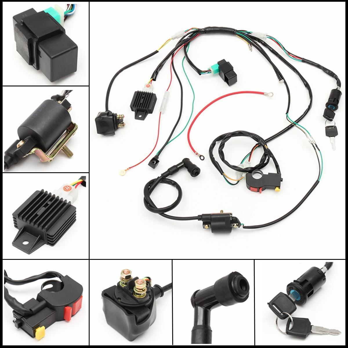 hight resolution of complete electric start engine wiring harness loom 110 125cc pit dirt quad bike atv buggy