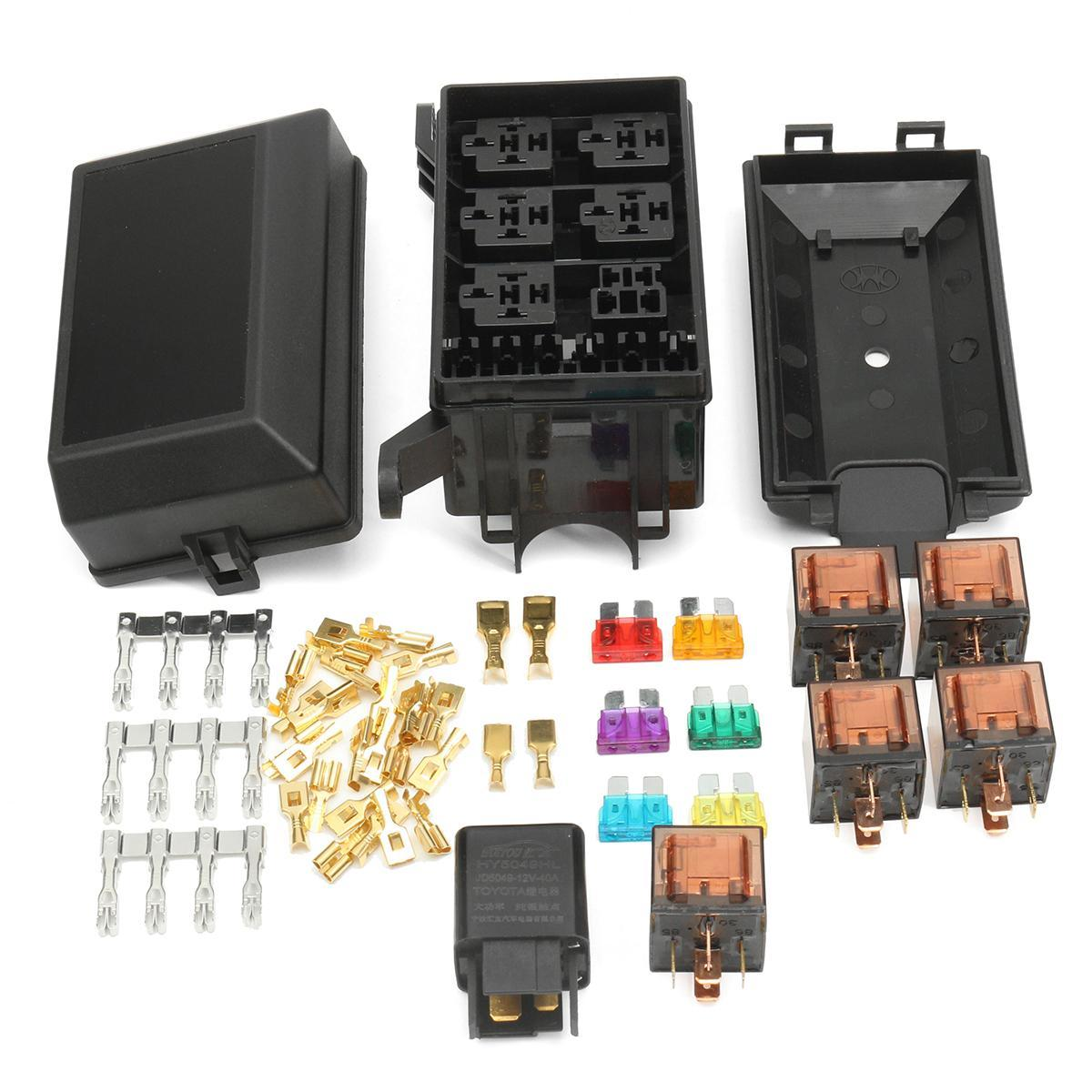 hight resolution of  auto fuse box 6 relay holder 5 road insurance holder with 5x 12v 80a 1x12v