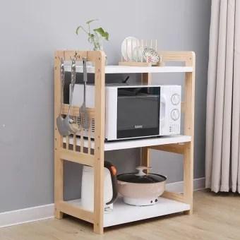 wooden microwave stand kitchen rack utility storage shelf rack organizer adjustable