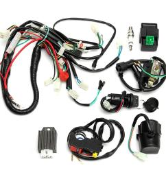 full wiring harness loom start switch kit pit bike atv 4 go kart 50 110cc 125cc [ 1200 x 1200 Pixel ]