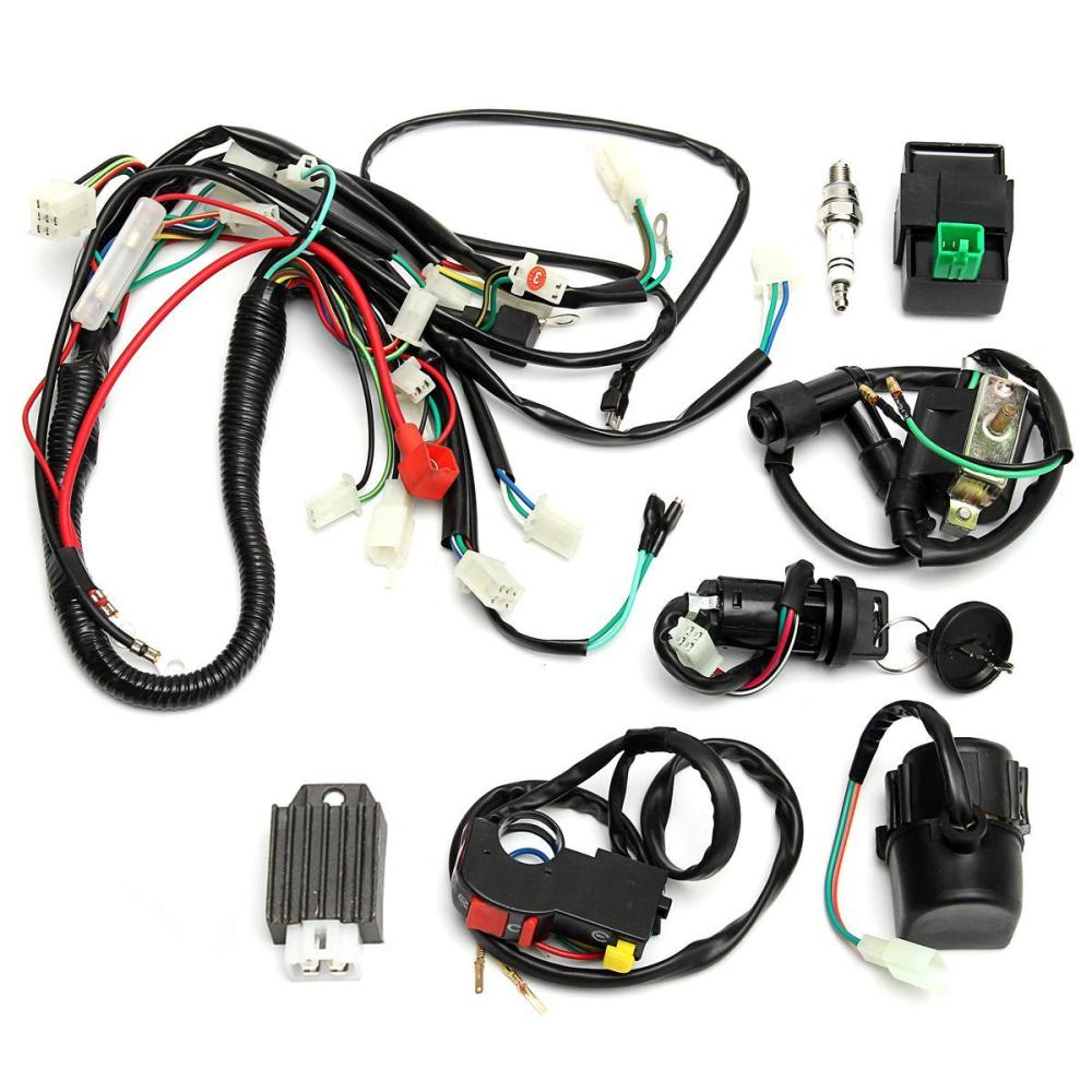 medium resolution of full wiring harness loom start switch kit pit bike atv 4 go kart 50 110cc 125cc