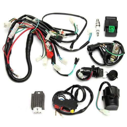 small resolution of full wiring harness loom start switch kit pit bike atv 4 go kart 50 110cc 125cc