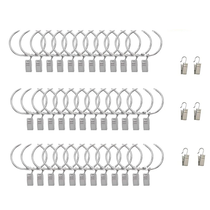 1 5 inch curtain rings with clips 36 6 pack metal window rod clips decorative drapery hooks for curtain rustproof hooks
