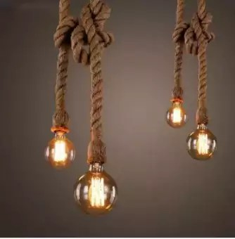 filament bulb rope pendant lights lamp vintage style light bulb and rope holder home decor kitchen decor room lamp light bulb incandescent 1 bulb and