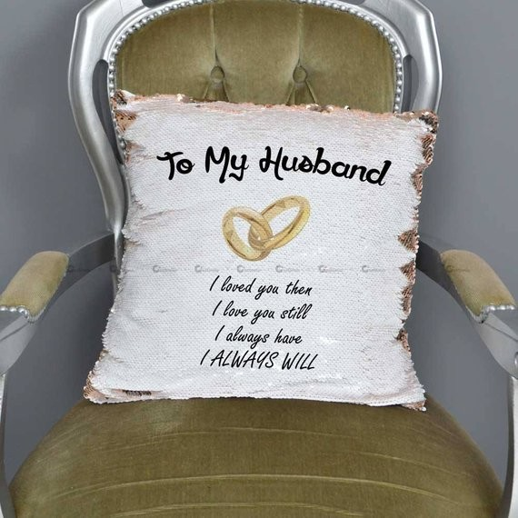 customized magic sequin cushion cover a personalised to my husband printed gift pillow with filling