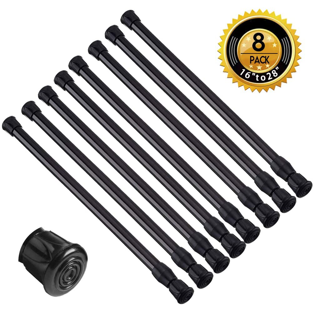 8 pack small short spring tension rods 15 7 inch to 28 inch black curtain rod tension spring rod