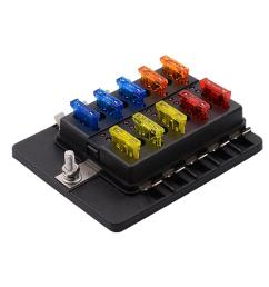 1 in 10 out fuse box pc terminal block fuse holder kits with led warning indicator [ 1100 x 1100 Pixel ]