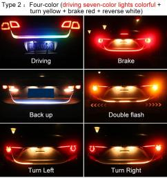 car rear trunk tail led strip lighting light dynamic streamer warning light brake turn signal  [ 1000 x 1000 Pixel ]
