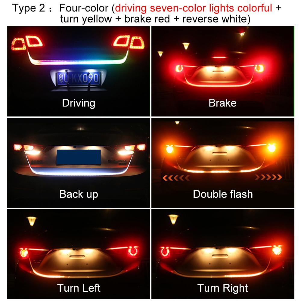 medium resolution of car rear trunk tail led strip lighting light dynamic streamer warning light brake turn signal