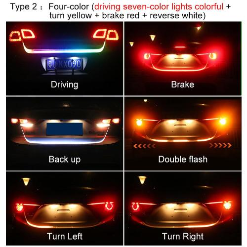 small resolution of car rear trunk tail led strip lighting light dynamic streamer warning light brake turn signal