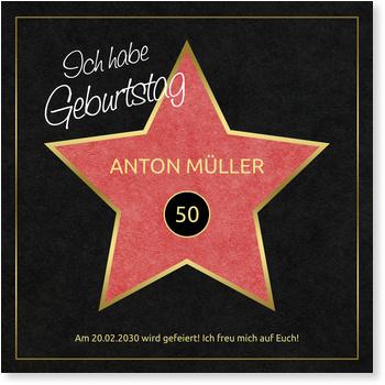HollywoodStar Einladungskarten fr runde Geburtstage