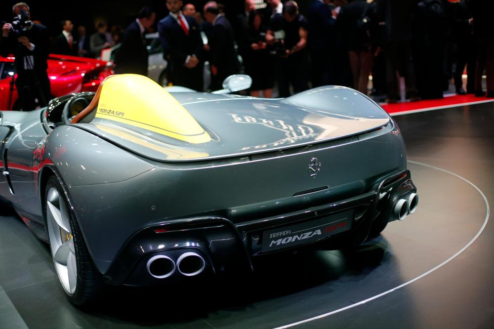 medium resolution of the ferrari monza sp1 is on display at the auto show in paris france