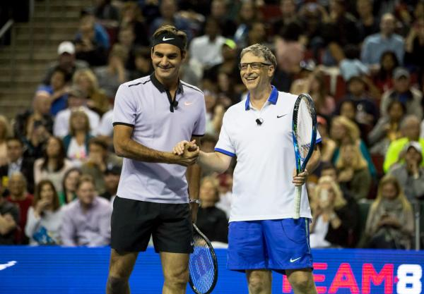 Roger Federer & Bill Gates Play Doubles Charity