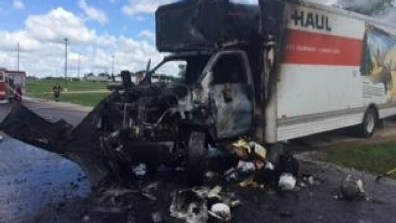Image result for moving truck on fire