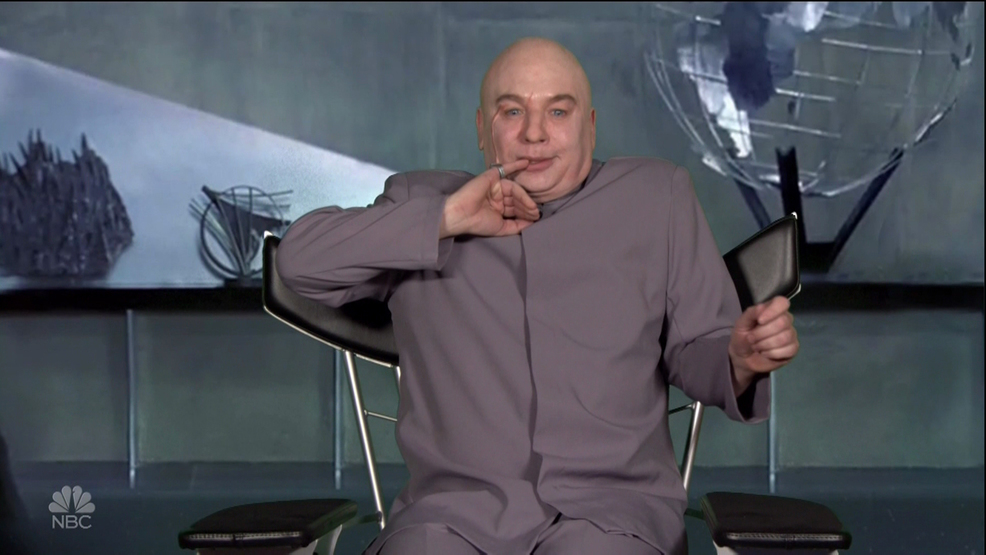 dr evil chair pontoon boat captain mike myers reprises character to take aim at trump woai
