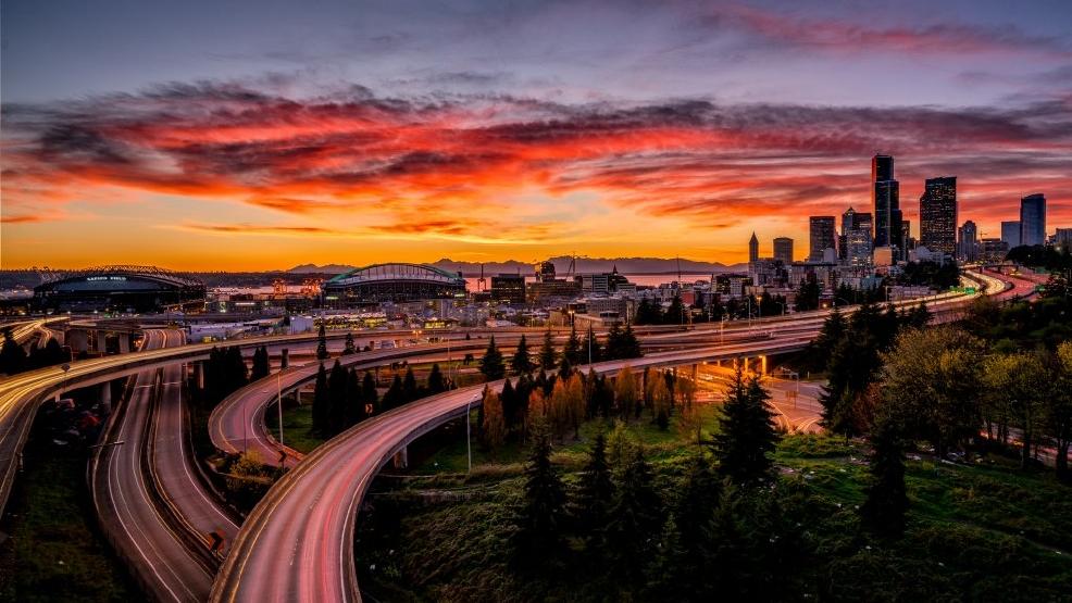 Photos Jawdropping sunset fills Seattlearea skies  KOMO
