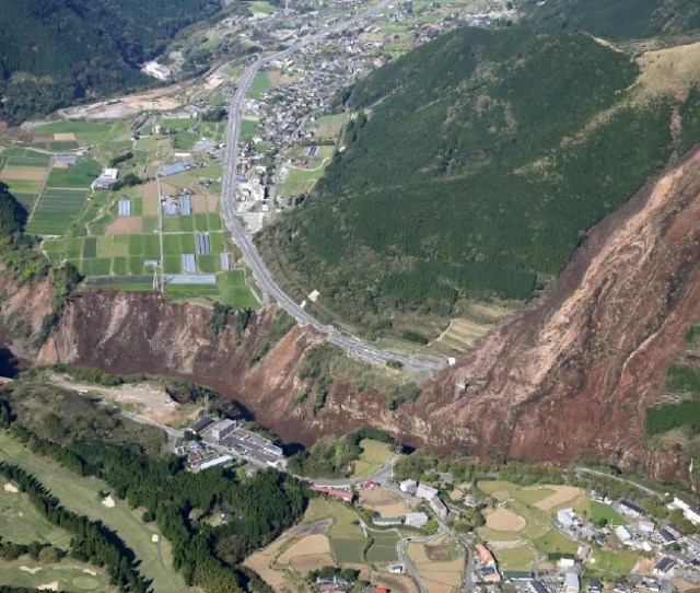A Landslide Is Seen After The Earthquake In Minamiaso Kumamoto Prefecture Southern Japan Saturday April 16 2016 A Powerful Earthquake Struck Southern