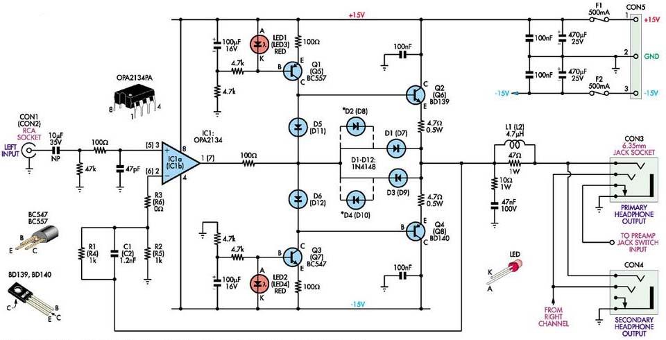 [AX_0368] Stereo Headphone Circuit Diagram Free Diagram