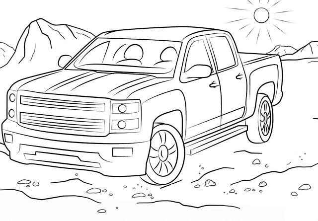 [SR_4381] Chevy Silverado Coloring Pages Free Diagram