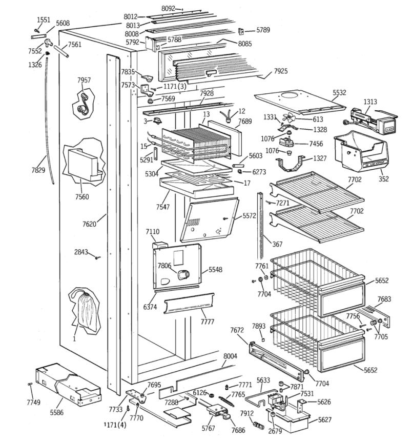 Ge Monogram Built In Refrigerator Parts Diagram