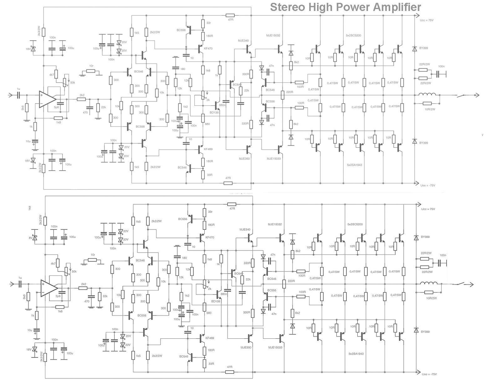 [FZ_8640] High Power Audio Amplifier Schematic Free Diagram