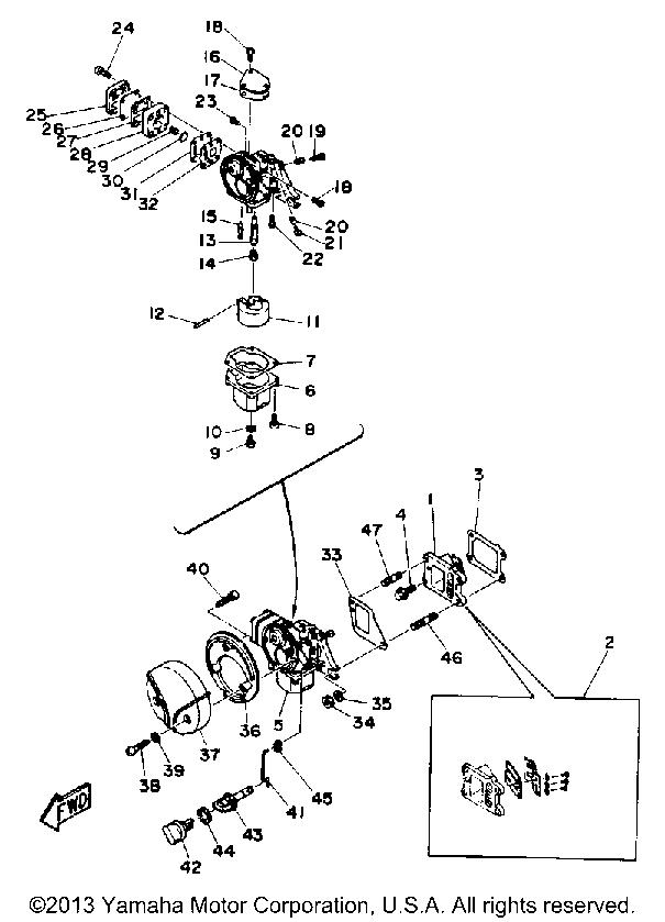 [RS_2375] Yamaha Outboard 2 Stroke Carburetor Diagram