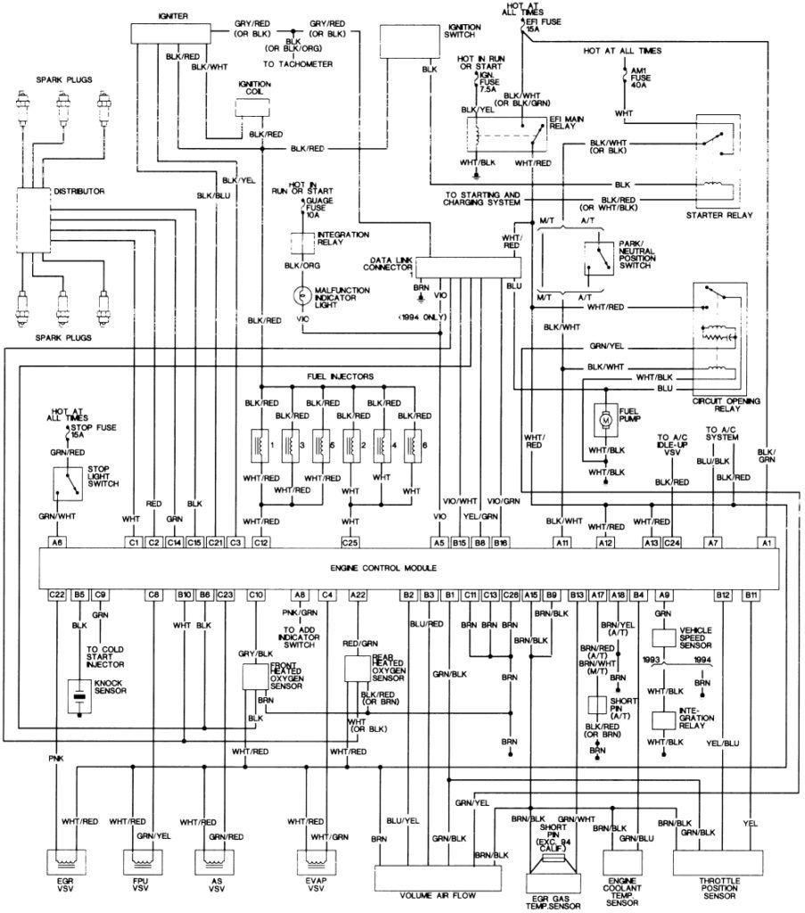 [LW_1577] 1994 Toyota Pickup Speedometer Cluster Diagram