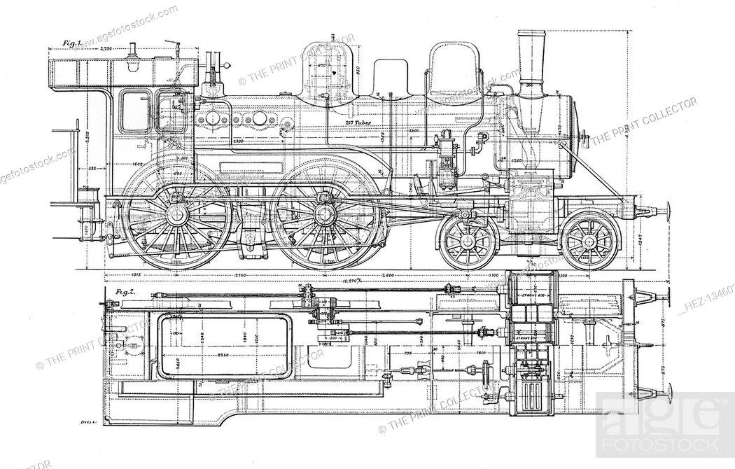 [KF_6085] Steam Locomotive Diagram A Locomotive Engine