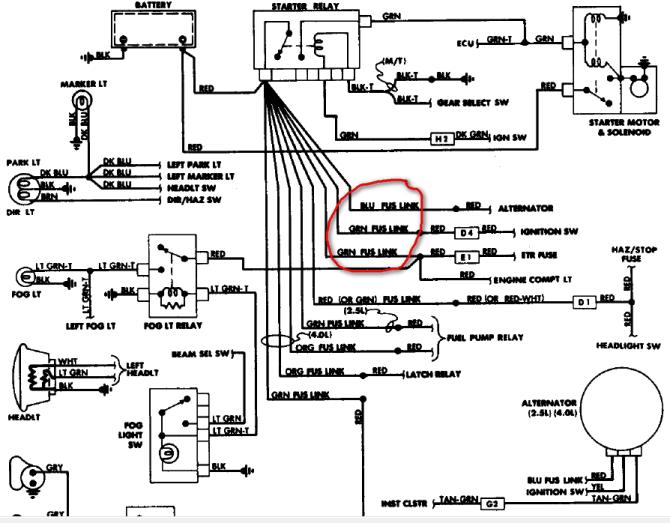 1990 jeep comanche wiring diagram 1992 mustang hazard