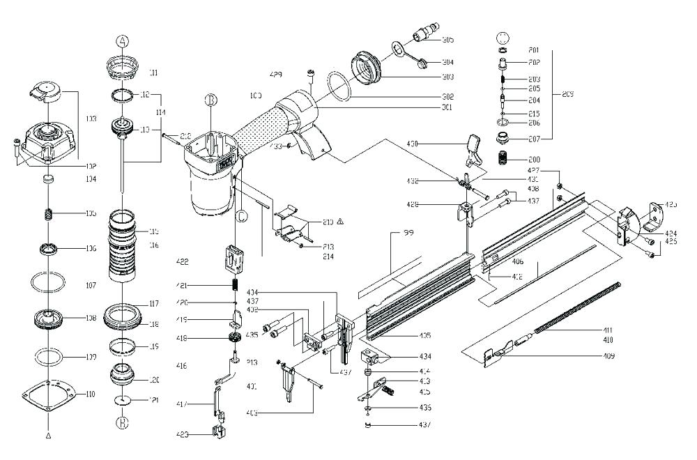 [ZT_1865] Nail Gun Parts Diagram Schematic Wiring