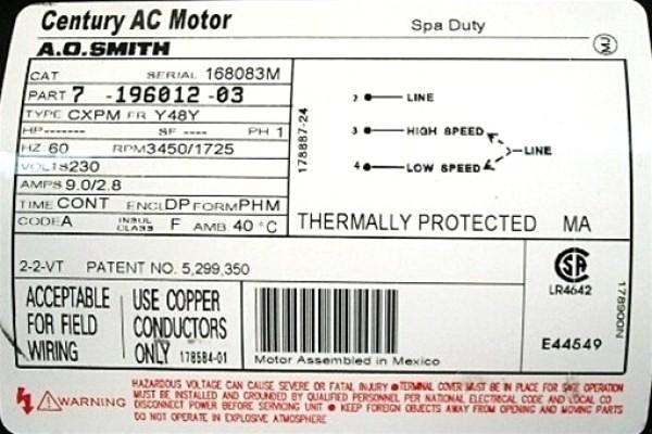 hv1760 220v motor wiring diagram 115 230 century motor