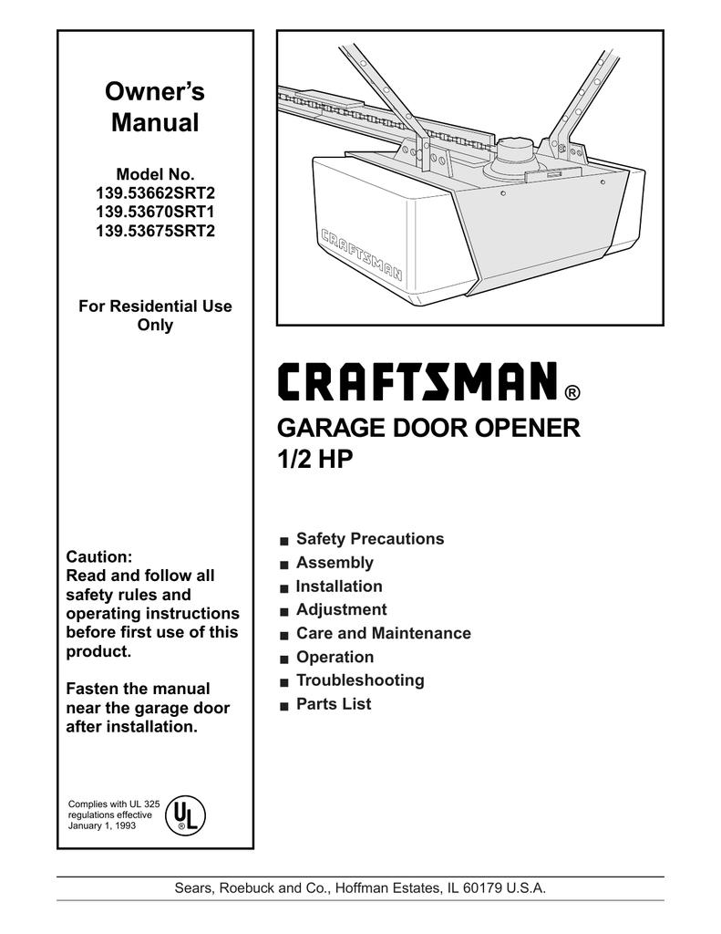 Manual For Craftsman 1 2 Hp Garage Door Opener Chain Drive