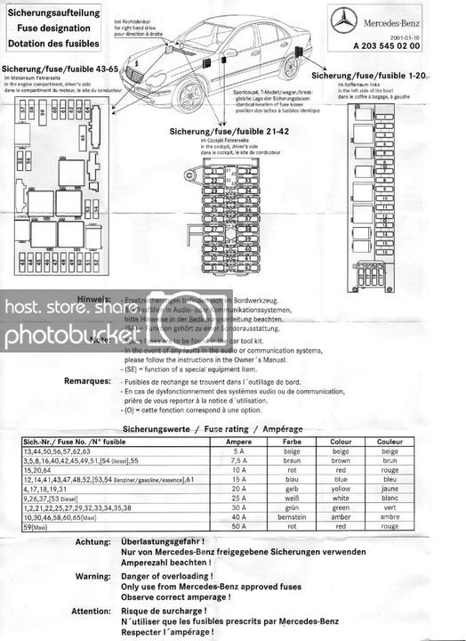 [YL_4652] 2001 Mercedes C320 Fuse Box Diagram Likewise