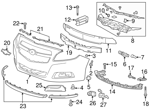 [HE_4105] Front End Exploded View Auto Parts Diagrams