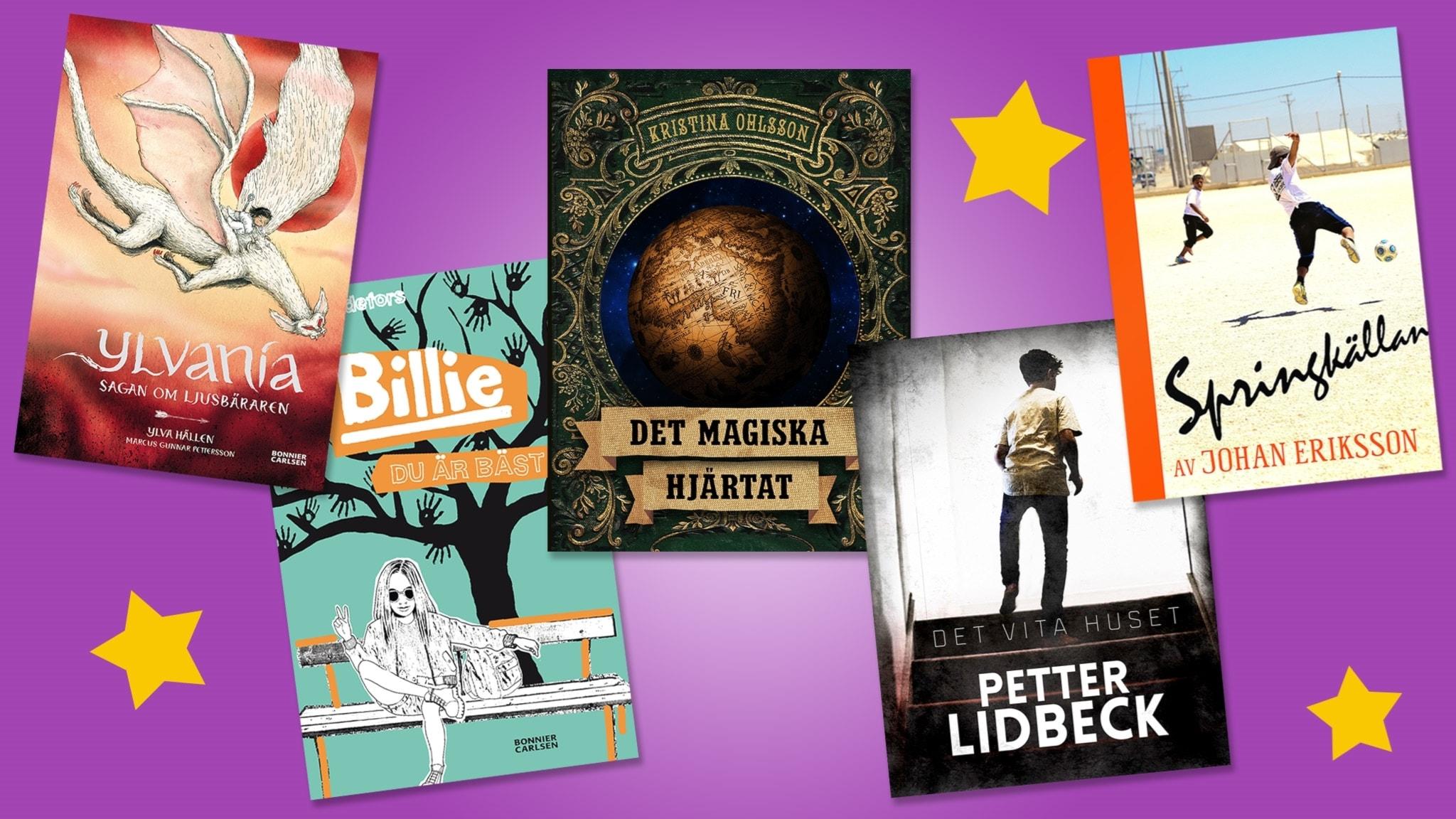 De fem nominerade böckerna till Barnens bokpris 2017.