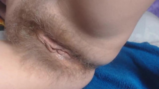 Redhead hairy girl playing home alone, Dildo playing