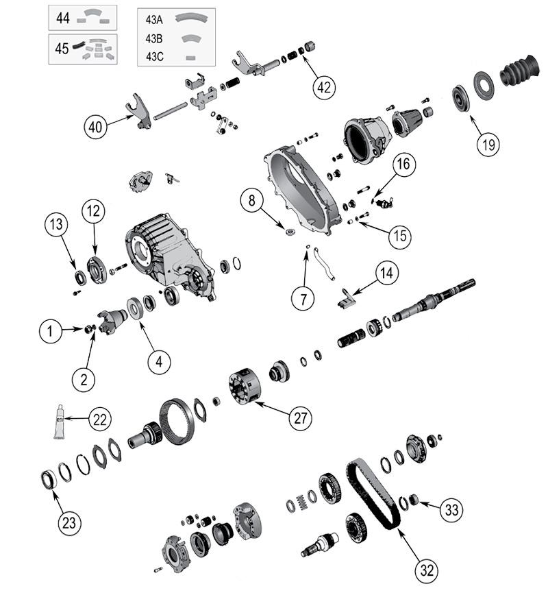 diagramme Boîtes de transfert Jeep KJ Liberty 2002/2007