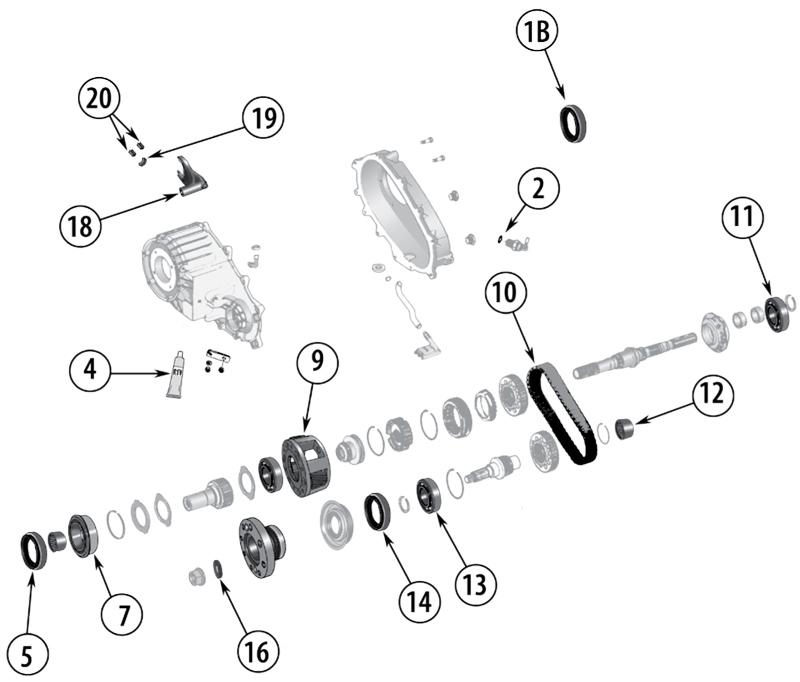 Technické schéma Přídavné Převodovky Jeep KJ Liberty 2002