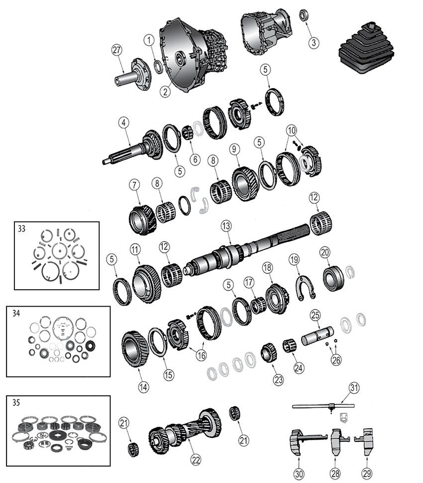 Explosionszeichnung Getriebe Jeep KJ Liberty 2002/2007