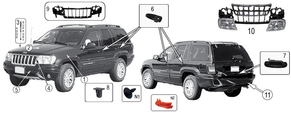 diagramme Extérieur & intérieur Jeep WJ/WG Grand Cherokee
