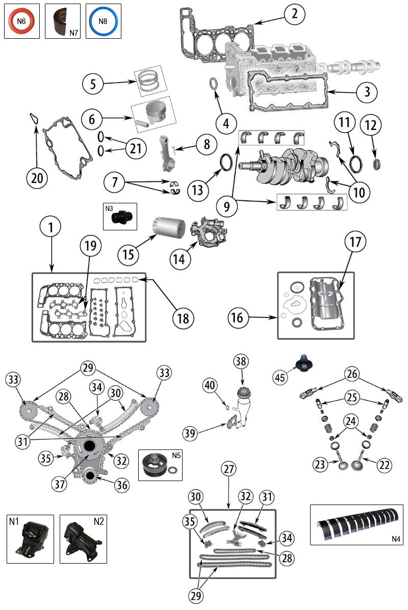 Technické schéma Motor Jeep WK/WH Grand Cherokee 2005/2010